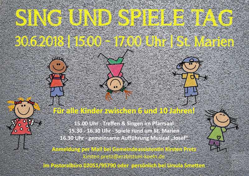 Plakat Sing Spiele Tag